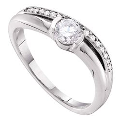 Diamond Solitaire Bridal Wedding Engagement Ring 3/8  14kt White Gold
