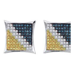 Mens Round Blue Yellow Color Enhanced Diamond Square Kite Earrings 1/20 Cttw 10kt White Gold