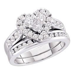 Diamond Heart Bridal Wedding Engagement Ring Band Set 1.00 Cttw 14kt White Gold