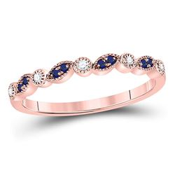 Round Blue Sapphire Diamond Stackable Band Ring 1/10 Cttw 10kt Rose Gold