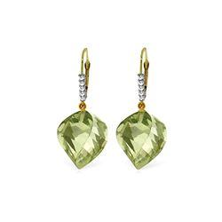 Genuine 26.15 ctw Amethyst & Diamond Earrings 14KT Yellow Gold - REF-61T6A