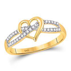 Diamond Woven Heart Ring 1/6 Cttw 10kt Yellow Gold