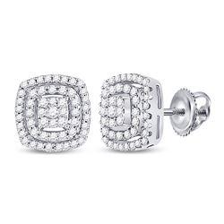 Diamond Square Frame Cluster Earrings 1/4 Cttw 10kt White Gold