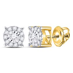 Diamond Circle Frame Solitaire Stud Earrings 1/5 Cttw 10kt Yellow Gold
