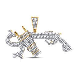Mens Diamond Statement Charm Pendant 1.00 Cttw 10kt Yellow Gold