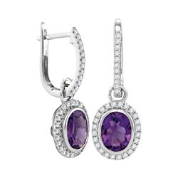 Round Natural Amethyst Diamond Oval Dangle Earrings 2-3/8 Cttw 14kt White Gold