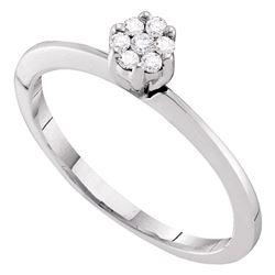 Diamond Flower Cluster Ring 1/8 Cttw 10kt White Gold