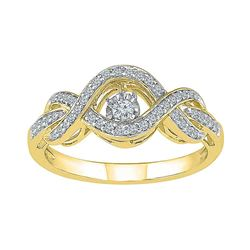 Diamond Moving Twinkle Solitaire Bridal Wedding Engagement Ring 1/4 Cttw 10kt Yellow Gold