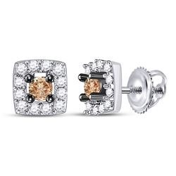 Round Brown Diamond Square Stud Earrings 1/4 Cttw 10kt White Gold