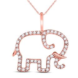 Diamond Elephant Animal Pendant 1/6 Cttw 10kt Rose Gold