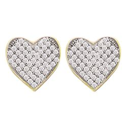 Diamond Heart Cluster Screwback Earrings 1/10 Cttw 10kt Yellow Gold