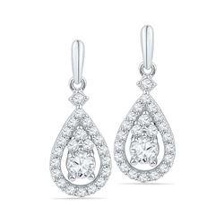 Diamond Solitaire Teardrop Frame Dangle Earrings 1/2 Cttw 10kt White Gold