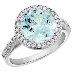 2.44 CTW Aquamarine & Diamond Ring 14K White Gold - REF-64H5M