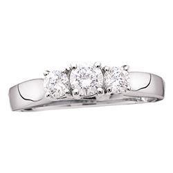 Diamond 3-stone Bridal Wedding Engagement Ring 7/8 Cttw 14kt White Gold