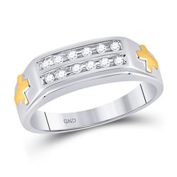 Mens Diamond Cross Wedding Band Ring 1/6 Cttw 10kt Two-tone Gold