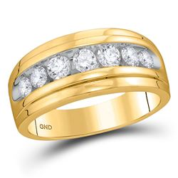Mens Diamond Wedding Channel-Set Band Ring 7/8 Cttw 10kt Yellow Gold