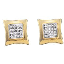 Diamond Square Kite Cluster Screwback Earrings 1/10 Cttw 10kt Yellow Gold