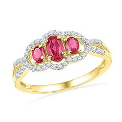 Oval Lab-Created Ruby 3-stone Diamond Frame Ring 7/8 Cttw 10kt Yellow Gold