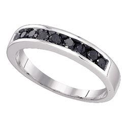 Mens Round Black Color Enhanced Diamond Wedding Band Ring 1/2 Cttw 10kt White Gold