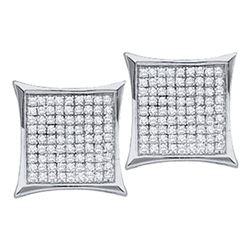 Diamond Square Kite Cluster Earrings 1/3 Cttw 10kt White Gold