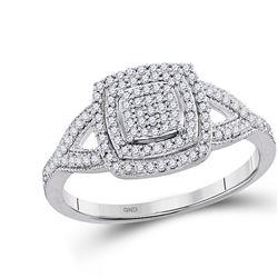 Diamond Square Cluster Bridal Wedding Engagement Ring 1/3 Cttw 10kt White Gold