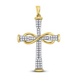 Diamond Cross Infinity Pendant 1/5 Cttw 10kt Yellow Gold
