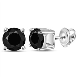 Unisex Round Black Color Enhanced Diamond Solitaire Stud Earrings 2.00 Cttw 14kt White Gold