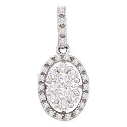 Diamond Oval Cluster Pendant 1/2 Cttw 14kt White Gold