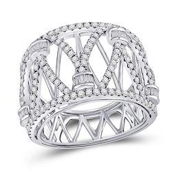 Diamond Modern Fashion Band Ring 1.00 Cttw 14kt White Gold