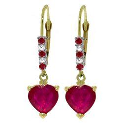 Genuine 2.98 ctw Ruby & Diamond Earrings 14KT Yellow Gold - REF-46N7R
