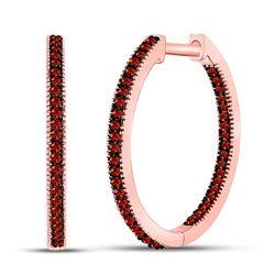Round Red Color Enhanced Diamond Hoop Earrings 1/4 Cttw 10kt Rose Gold
