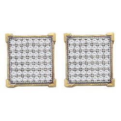 Diamond Square Cluster Stud Earrings 1/3 Cttw 10kt Yellow Gold