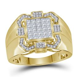 Mens Diamond Octagon Frame Cluster Ring 7/8 Cttw 10kt Yellow Gold