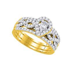 Pear Diamond 3-Piece Bridal Wedding Engagement Ring Band Set 7/8 Cttw 14kt Yellow Gold