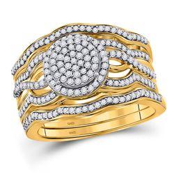 Diamond Cluster 3-Piece Bridal Wedding Engagement Ring Band Set 1/2 Cttw 10kt Yellow Gold