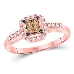 Brown Diamond Fashion Ring 1/4 Cttw 10kt Rose Gold