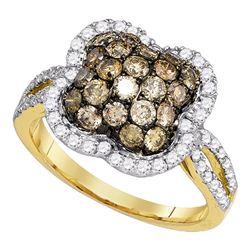 Round Brown Diamond Quatrefoil Cluster Ring 1-1/2 Cttw 10kt Yellow Gold