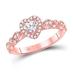 Heart Diamond Solitaire Bridal Wedding Engagement Ring 3/8 Cttw 10kt Rose Gold