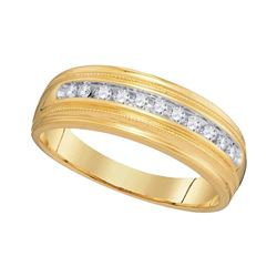 Mens Diamond Single Row Milgrain Wedding Band Ring 1/4 Cttw 10kt Yellow Gold