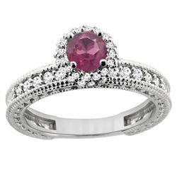 0.95 CTW Rhodolite & Diamond Ring 14K White Gold - REF-66X2M
