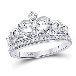 Diamond Fleur-de-lis Crown Ring 1/3 Cttw 10kt White Gold