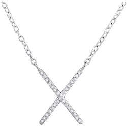 Diamond Letter X Cross Pendant Necklace 1/10 Cttw 10kt White Gold