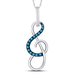 Round Blue Color Enhanced Diamond Treble Clef Music Pendant 1/10 Cttw 10kt White Gold