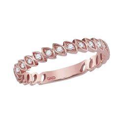 Diamond Vintage Stackable Band Ring 1/10 Cttw 14kt Rose Gold