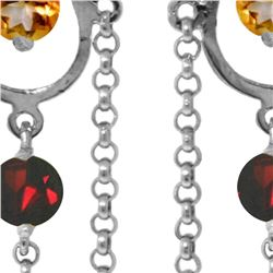 Genuine 3 ctw Citrine & Garnet Earrings 14KT White Gold - REF-48A9K