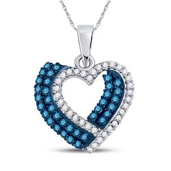 Round Blue Color Enhanced Diamond Double Heart Pendant 3/8 Cttw 10kt White Gold