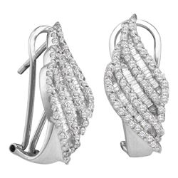 Round Baguette Diamond Half J Hoop French-clip Earrings 1-1/3 Cttw 14kt White Gold