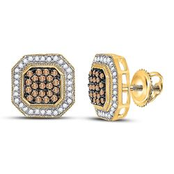 Round Brown Diamond Octagon Cluster Earrings 1/2 Cttw 10kt Yellow Gold