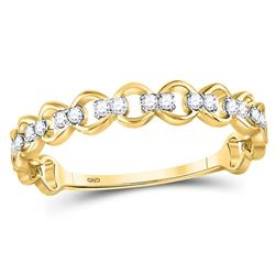 Diamond Link Stackable Band Ring 1/8 Cttw 10kt Yellow Gold