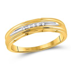 Mens Round Channel-set Diamond Wedding Band 1/20 Cttw 10kt Yellow Two-tone Gold